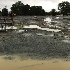 rainy muddy job site