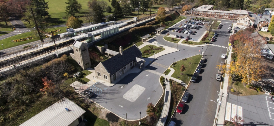 Train station with new overflow parking