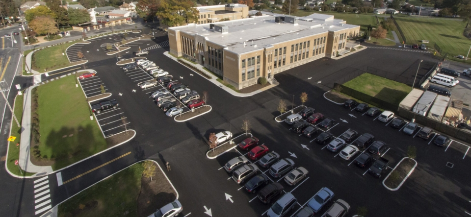 Drone view of elementary school and parking lot