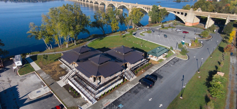 Drone view of building near the Columbia River
