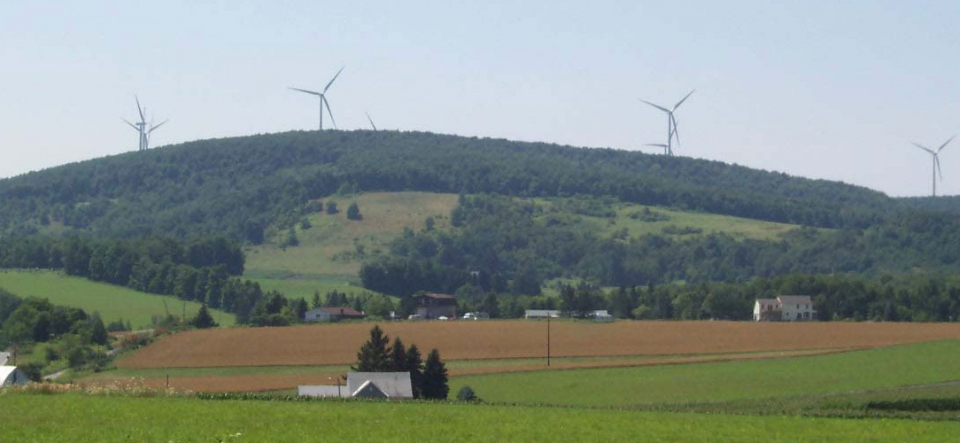 Landscape view of the Allegheny Ridge Wind Farm