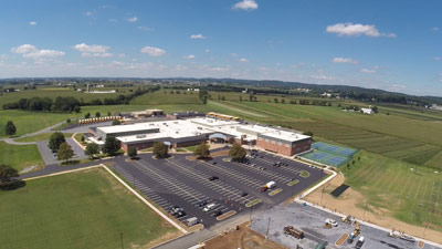 Drone view of Cocalico School and parking lot
