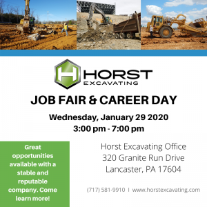 Horst Excavating job fair January 29 2020