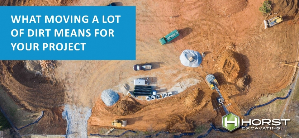 aerial view excavating site moving dirt construction project